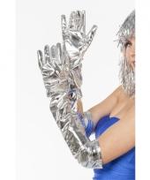Lange glimmende handschoenen zilver