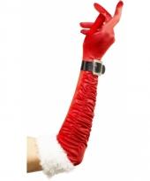 Lange rode handschoenen kerst