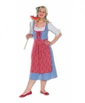 Lange tiroolse dames jurk geblokt