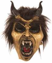 Latex horror masker duivel goud