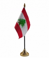 Libanon tafelvlaggetje 10 x 15 cm met standaard