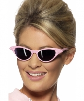 Licht roze zonnebril met diamantjes