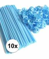 Lichtblauwe ballonstaafjes 10 stuks