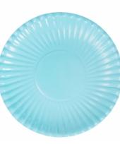 Lichtblauwe kartonnen bordjes 23 cm