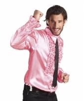 Lichtroze overhemd met rouches