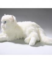 Luie liggende witte katten knuffel 10059415