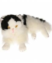 Luie liggende zwart witte katten knuffel