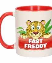 Luipaard ontbijtbeker rood wit voor kinderen 300 ml