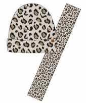 Luipaard print sjaal en muts beige voor meisjes