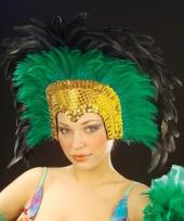 Luxe groene veren tooi voor dames