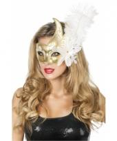 Luxe venetiaans oogmasker goud wit