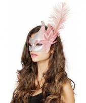 Luxe venetiaans oogmasker zilver roze