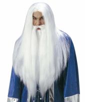 Luxe witte tovenaarspruik voor volwassenen
