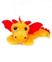 Magnetron oranje draken knuffeldier 18 cm