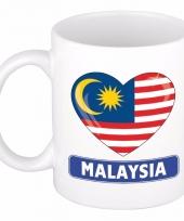 Maleisische vlag hartje koffiemok 300 ml