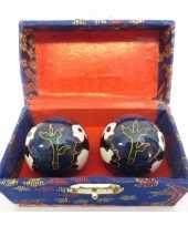 Meridiaanballen yin yang 3 5 cm blauw