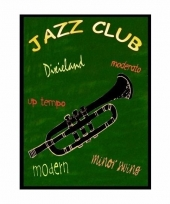 Metalen muurplaatje jazz club 30 x 40 cm
