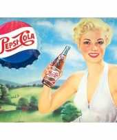 Metalen reclamebord met dame pepsi cola 30 x 40 cm