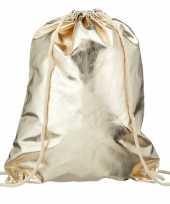 Metallic gouden rugtas gymtas met rijgkoord