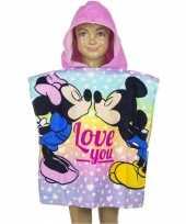 Mickey en minnie verliefd badcape voor kinderen
