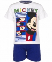 Mickey mouse korte pyjama wit met blauw