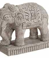 Mini olifant tuin beeldje grijs 27 cm