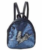 Mini rugzak blauw met pailletten 19 cm festival musthave
