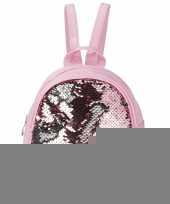 Mini rugzak roze met pailletten 19 cm festival musthave