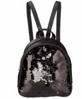 Mini rugzak zwart met pailletten 19 cm festival musthave