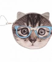 Mini tasje grijze kat poes met bril