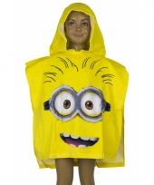 Minions gezicht kinderponcho geel