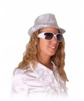 Modieuze witte feestbrillen met glitters