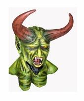 Monster masker groen met hoorns