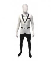 Morphsuit met witte smoking opdruk
