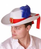 Musketier hoeden wit volwassenen