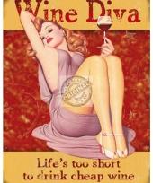 Muurdecoratie wijn diva