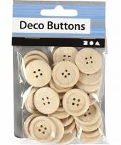 Naai accessoires blank houten knopen 30 stuks