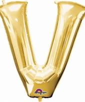 Naam ballonnen letter v goud