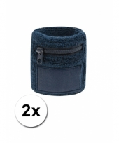 Navy blauw zweetbandje met rits 2 stuks