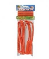 Neon oranje springtouw en elastiek