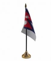 Nepal tafelvlaggetje 10 x 15 cm met standaard