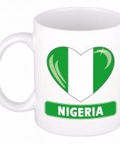 Nigeriaanse vlag hartje koffiemok 300 ml