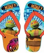 Ninja turtles teenslippers lichtblauw oranje voor jongens