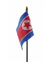 Noord koreaanse landenvlag op stokje