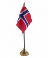 Noorwegen tafelvlaggetje 10 x 15 cm met standaard