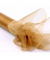 Nylon organza stof goud met glitters 36 cm