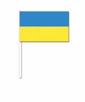 Oekraine zwaai vlaggetjes 12 x 24 cm