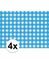 Oktoberfest 4x placemats blauw wit geblokt 43 x 30 cm