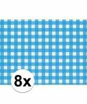 Oktoberfest 8x placemats blauw wit geblokt 43 x 30 cm