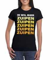 Oktoberfest ik wil bier zuipen tekst t-shirt zwart dames